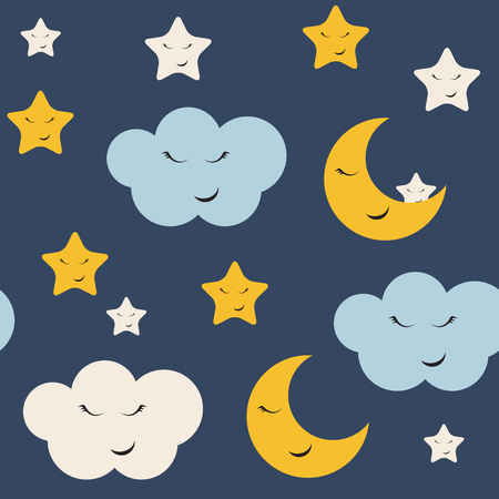 Cute Star, Cloud and Moon Seamless Pattern Background Vector Illustration