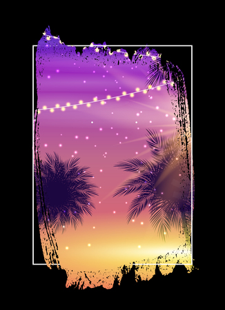 Summer Night Beach Poster. Tropical Natural Background with Palm.  Decor for fabric, textile, clothes Vector Illustration Ilustração