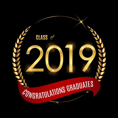 Congratulations on Graduation 2019 Class Background Vector Illustration EPS10