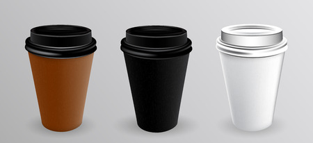 Bicchiere di carta bianco e nero per caldo. Illustrazione di vettore. EPS10