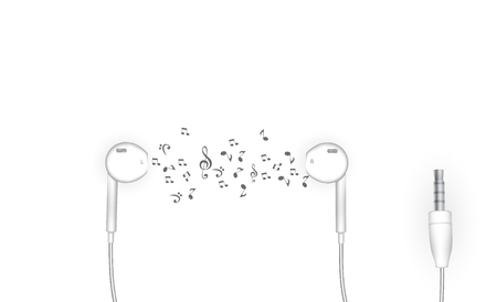 Neat stylish wired earbud headphones in white. Vector Illustration. EPS10