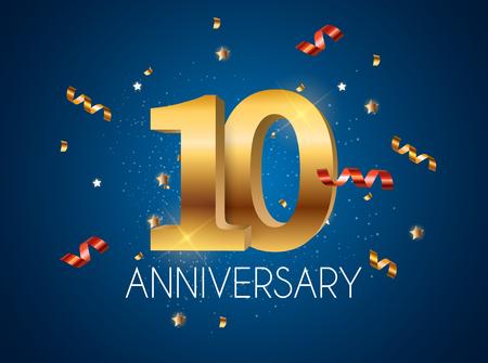 Template 10 Years Anniversary Vector Illustration Illusztráció