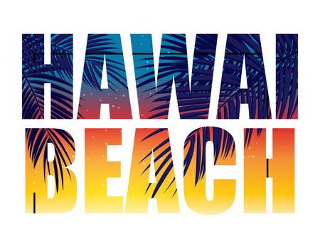 Hawai Beach Summer Paradise Abstract Palm Background. Vector Illustration EPS10