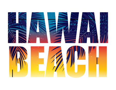 Hawai Beach zomerparadijs abstracte palm achtergrond. Vectorillustratie EPS10