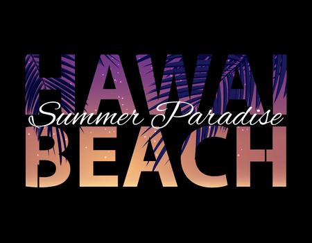 Hawai Beach Summer Paradise Abstract Palm Background. Vector Illustration EPS10 Vecteurs