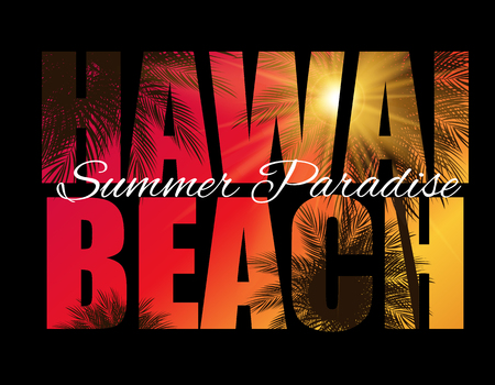 Hawai Beach Summer Paradise Abstract Palm Background. Vector Illustration Stock Illustratie