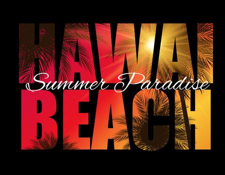 Hawai Beach Summer Paradise Abstrait Palm. Illustration vectorielle Vecteurs
