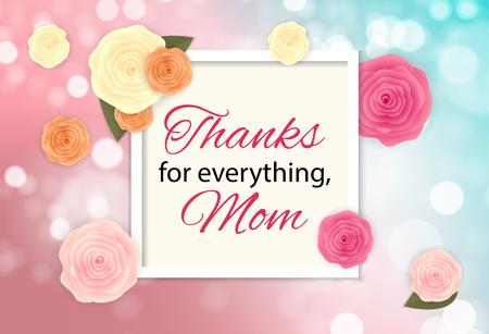 Danke für alles, Mama. Glücklicher Muttertag Netter Hintergrund mit Blumen. Vektorillustration