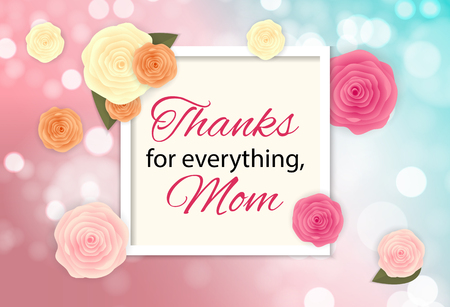 Gracias por todo, mamá. Feliz día de la madre lindo fondo con flores. Ilustración vectorial