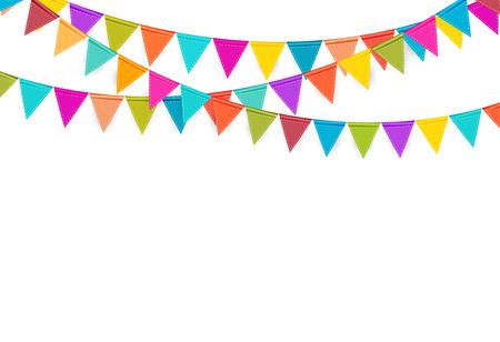 Fondo de fiesta con la ilustración de vector de banderas.