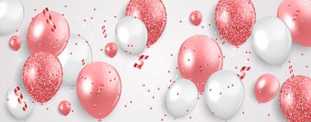 Glossy Happy Birthday Balloons Background Vector Illustration. EPS10