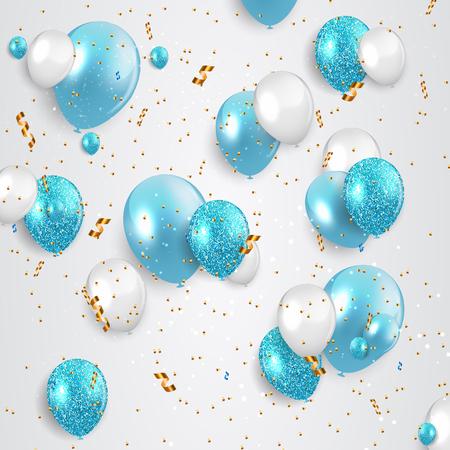 Glossy Happy Birthday Balloons Background Vector Illustration. EPS10 Фото со стока - 122688082