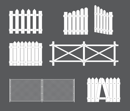 Silhouettes of various types of fence, gate of wood, metal. Vector Illustration. Banque d'images - 122309666