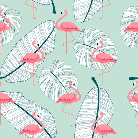 Colorful Pink Flamingo Seamless Pattern Background. Vector Illustration. EPS10