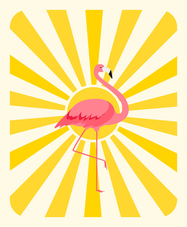 Natural Sunny  Background with Colorful cartoon pink flamingo on one leg stands Vector Illustration
