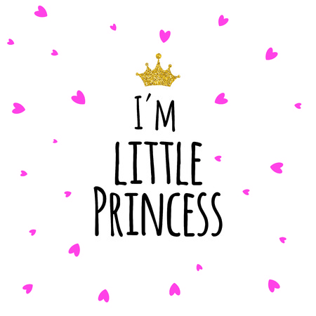 I'm Little Princess Abstract Background with Glitter Golden Crown. Vector Illustration
