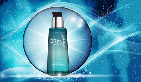 Design Cosmetics Produktvorlage für Anzeigen oder Magazin Hintergrund. Realistische 3D-Vektorillustration.