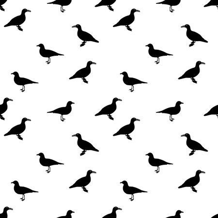 Silhouette of Water Duck on white background. Seamless Pattern. Vector Illustration.