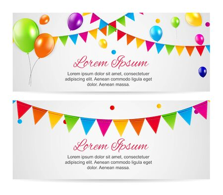 Color glossy balloons birthday party card background. vector illustration. EPS10 Vector Illustration