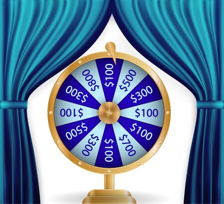 Natural color image of Curtain, open curtains Blue color along with Colorful roulette wheel. Chance of victory. Fortune concept. Vector Illustration. EPS10
