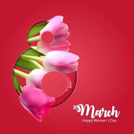 Poster International Happy Women's Day 8 March Floral Greeting card Vector Illustration EPS10