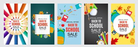 Abstract Vector Illustration Back to School Sale Poster Collection Set Background. EPS10