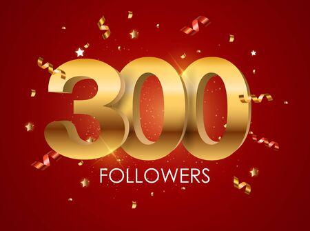 300 Followers Background Template Vector Illustration Standard-Bild - 128780141