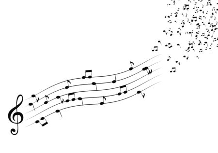 Classical musical notes with treble clef. Vector Illustrator. EPS10