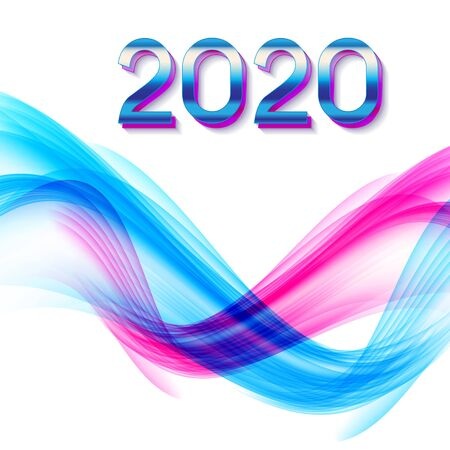 2020 Abstract Vector Illustration of New Year on Background of colored waves. EPS10 Foto de archivo - 129732107