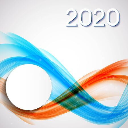 2020 Abstract Vector Illustration of New Year on Background of colored waves. EPS10 Foto de archivo - 129732152