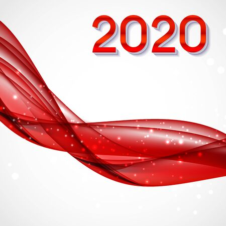 2020 Abstract Vector Illustration of New Year on Background of colored waves. EPS10