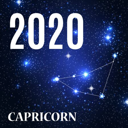 Symbol: Capricorn Zodiac Sign with the New Year and Christmas 2020. Vector Illustration. EPS10