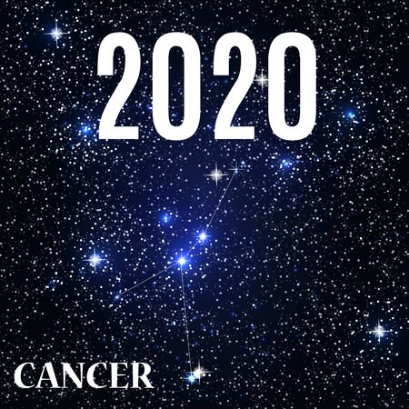 Symbol: Cancer Zodiac Sign with the New Year and Christmas 2020. Vector Illustration. EPS10 Illusztráció