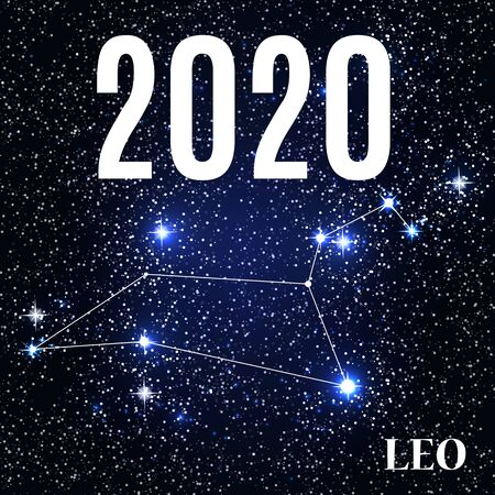 Symbol: Leo Zodiac Sign with the New Year and Christmas 2020. Vector Illustration. EPS10