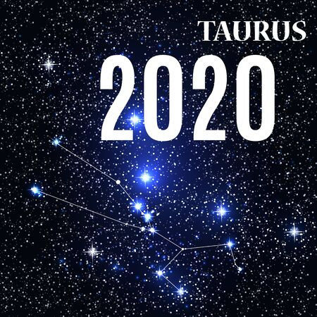 Symbol: Taurus Zodiac Sign with the New Year and Christmas 2020. Vector Illustration. EPS10