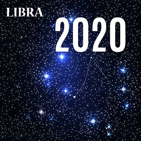 Symbol: Libra Zodiac Sign with the New Year and Christmas 2020. Vector Illustration. EPS10