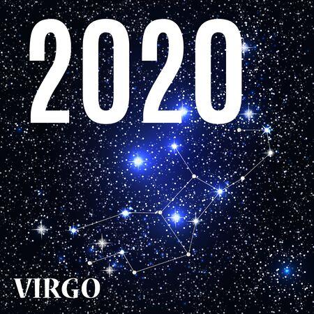 Symbol: Virgo Zodiac Sign with the New Year and Christmas 2020. Vector Illustration. EPS10 Illusztráció