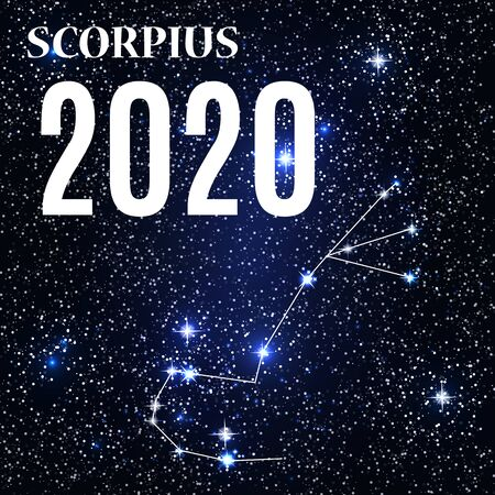 Symbol: Scorpius Zodiac Sign with the New Year and Christmas 2020. Vector Illustration. EPS10 Illustration