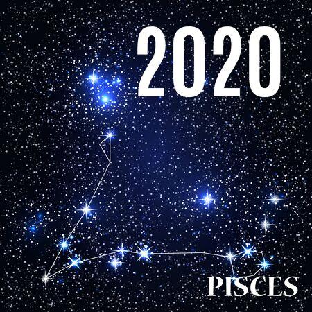 Symbol: Pisces Zodiac Sign with the New Year and Christmas 2020. Vector Illustration. EPS10 Illusztráció