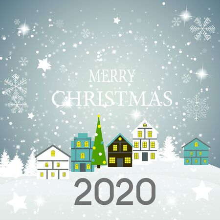 2020 Happy New Year and Marry Christmas Background. Vector Illustration. EPS10