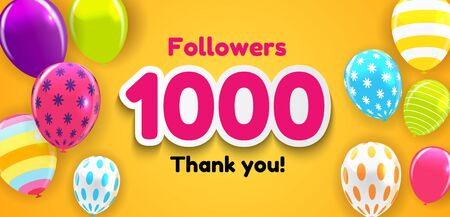 1000 Followers, Thank you Background for Social Network friends. Vector Illustration eps10