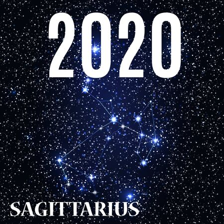 Symbol: Sagittarius Zodiac Sign with the New Year and Christmas 2020. Vector Illustration. EPS10