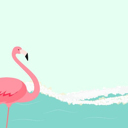 Summer Background with Flamingo and Sea Waves. Vector Illustration EPS10