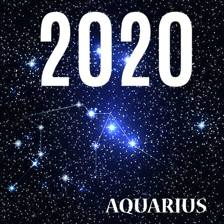 Symbol: Aquarius Zodiac Sign with the New Year and Christmas 2020. Vector Illustration. EPS10 Illusztráció