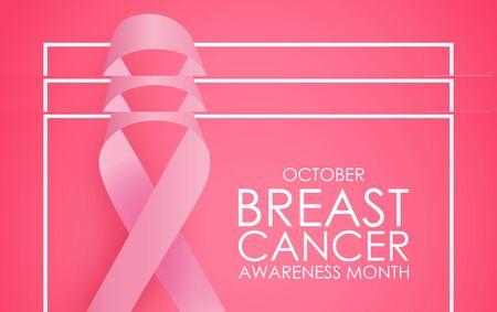 Octubre mes de concientización sobre el cáncer de mama concepto de fondo. Signo de cinta rosa. Ilustración de vector EPS10