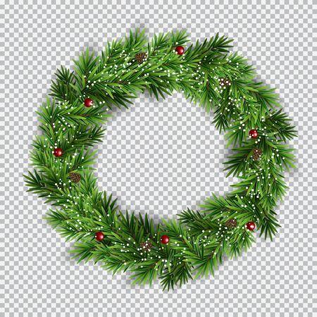 Christmas wreath on transparent background. Vector Illustration EPS10 Иллюстрация