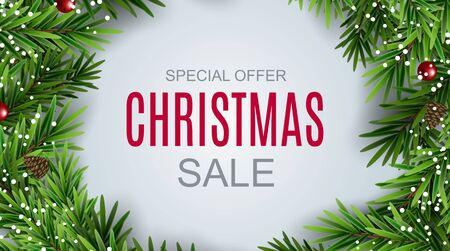 Abstract Vector Illustration Christmas Sale, Special Offer Background. Winter Hot Discount Card Template Çizim