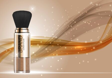 Design Cosmetics Product Powder Template for Ads or Magazine Background. 3D Realistic Vector Iillustration