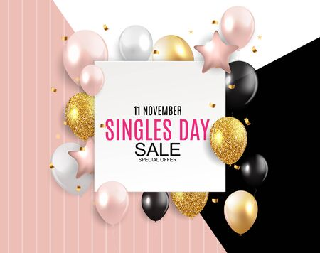 November 11 Singles Day Sale Abstract Background.. Vector Illustration