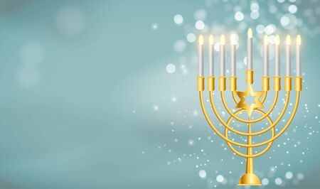 Happy Hanukkah, Jewish Holiday Background. Vector Illustration. Hanukkah is the name of the Jewish holiday